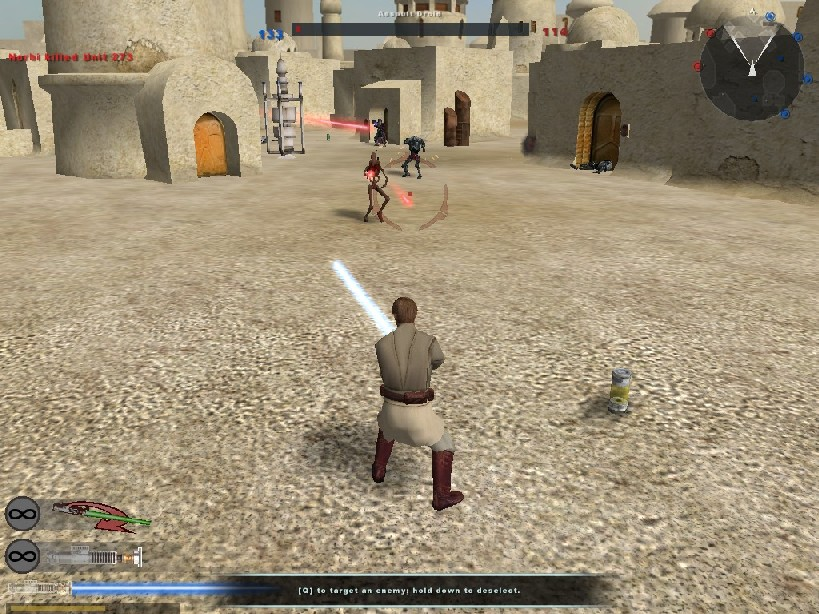Obi wan Kenobi uses his lightsaber to block shots in BF2