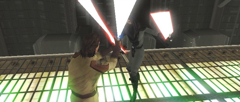 a dark jedi against a jedi knight on aboard the star forge